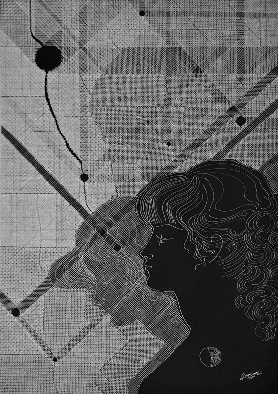 """1979 china bianca su cartoncino nero, 50 x 70  cm<a href=""""http://www.quirinodeieso.com/2018/01/09/ritratto-di-ragazze-tra-sogno-e-realta/"""" target=""""_blank"""">RECENSIONE</a>"""
