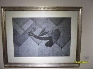 particolare L'uccello del paradiso, china retinata bianca su cartoncino nero, cm 50x70,2003