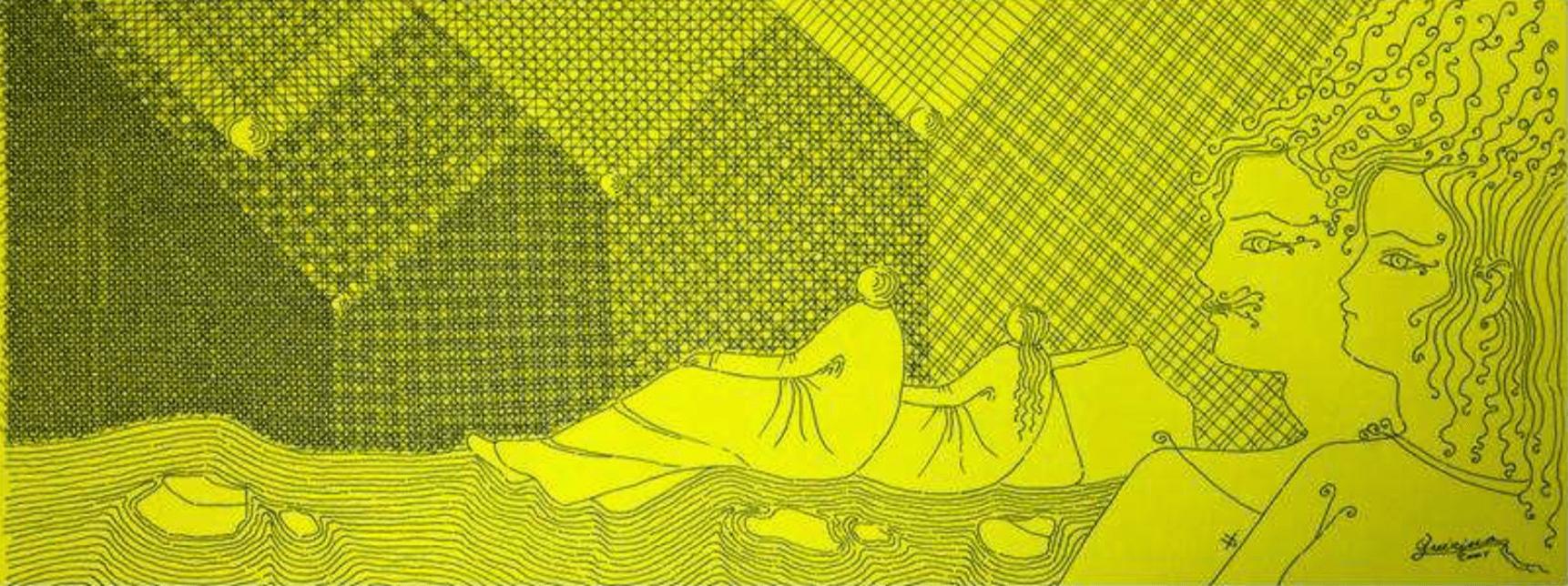 Uomini del terzo millennio, 2001, china retinata nera su cartoncino giallo cm. 23,50 x 60